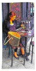 The Brasserie In Paris Beach Sheet by Jan Matson