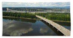 Beach Towel featuring the photograph Oregon Bridge From Above by Bob Slitzan