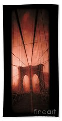 The Brooklyn Bridge Beach Towel by Edward Fielding