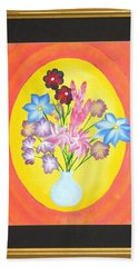 Beach Towel featuring the painting The Bud Vase by Ron Davidson