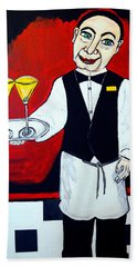 Beach Towel featuring the painting The Butler  by Nora Shepley