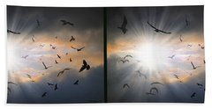 The Call - The Caw - Gently Cross Your Eyes And Focus On The Middle Image Beach Towel
