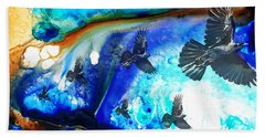 The Calling - Raven Crow Art By Sharon Cummings Beach Towel by Sharon Cummings