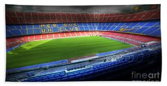 The Camp Nou Stadium In Barcelona Beach Towel by Michal Bednarek