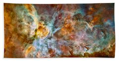 The Carina Nebula - Star Birth In The Extreme Beach Sheet by Marco Oliveira