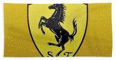 The Cavallino Rampante Symbol Of Ferrari Beach Sheet