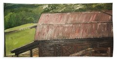 Beach Towel featuring the painting The Cherrys Barn by Jan Dappen