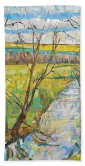 The Cherwell From Rousham II Oil On Canvas Beach Towel