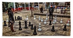 The Chess Match In Pdx Beach Sheet by Thom Zehrfeld
