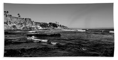 The Cliffs Of Pismo Beach Bw Beach Towel