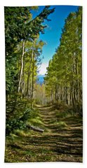 Beach Towel featuring the painting The Cool Path Through Arizona Aspens by John Haldane