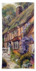 Beach Sheet featuring the painting The Cottage by Donna Tucker