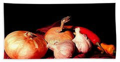New Orleans Onions, Garlic, Red Chili Pepper Used In Creole Cooking A Still Life Beach Towel