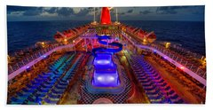The Cruise Lights At Night Beach Towel