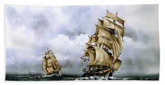 The Cutty Sark And The Red Clipper Beach Towel