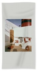 The Deck Of The Ocean Monarch Beach Towel