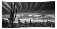 The Desert In Black And White Beach Towel
