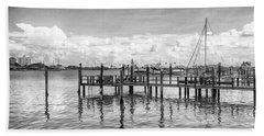 Beach Towel featuring the photograph The Dock by Howard Salmon