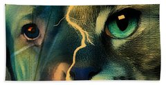 Beach Towel featuring the digital art The Dog Connection -green by Kathy Tarochione