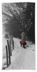 The Dog In The Red Coat Beach Towel by Vicki Spindler
