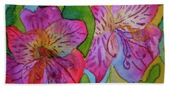 Beach Towel featuring the painting The Electric Kool-aid Alstroemeria Test by Beverley Harper Tinsley