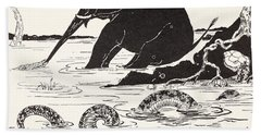 The Elephant's Child Having His Nose Pulled By The Crocodile Beach Towel by Joseph Rudyard Kipling