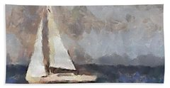 Beach Towel featuring the painting The Evening Peace  by Dragica  Micki Fortuna