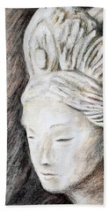 The Face Of Quan Yin Beach Towel by Danuta Bennett