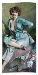 Beach Towel featuring the painting The Familiar Birds by Emile Friant