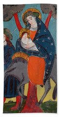 The Flight Into Egypt Glass Painting Beach Towel