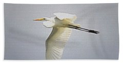 The Flight Of The Great Egret With The Stained Glass Look Beach Towel by Verana Stark