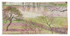 The Flood At Eragny Beach Towel by Camille Pissarro