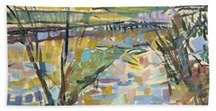 The Flooded Cherwell From Rousham I Oil On Canvas Beach Towel