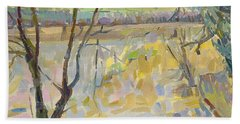 The Flooded Cherwell From Rousham II Oil On Canvas Beach Towel