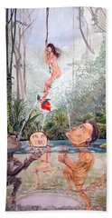 The Game Of The River Beach Towel by Lazaro Hurtado