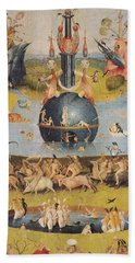 The Garden Of Earthly Delights Allegory Of Luxury, Detail Of The Central Panel, C.1500 Oil On Panel Beach Towel