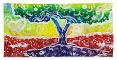 Beach Towel featuring the painting The Giving Tree by Shana Rowe Jackson