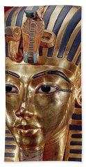 The Gold Mask, From The Treasure Of Tutankhamun C.1370-52 Bc C.1340 Bc Gold Inlaid Beach Towel