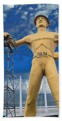 The Golden Driller - Tulsa Oklahoma Beach Sheet by Deena Stoddard