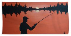 Beach Towel featuring the painting The Golden Hour by Norm Starks