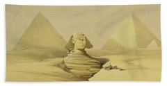 The Great Sphinx And The Pyramids Of Giza Beach Towel