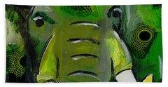 The Green Elephant In The Room Beach Towel