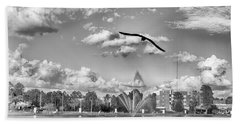 Beach Towel featuring the photograph The Gull by Howard Salmon