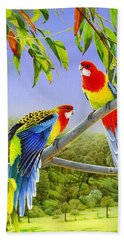 The Happy Couple - Eastern Rosellas  Beach Sheet