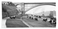 The Harlem River Speedway Beach Towel by Detroit Publishing Company
