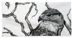 Beach Towel featuring the drawing The Hawk by Alison Caltrider