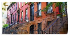 The Historic Brownstones Of Brooklyn Beach Sheet by Dora Sofia Caputo Photographic Art and Design