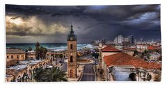 the Jaffa old clock tower Beach Towel by Ronsho