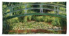 The Japanese Footbridge And The Water Lily Pool Giverny Beach Sheet by Claude Monet