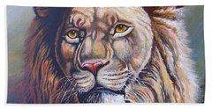 Beach Towel featuring the painting The King by Anthony Mwangi